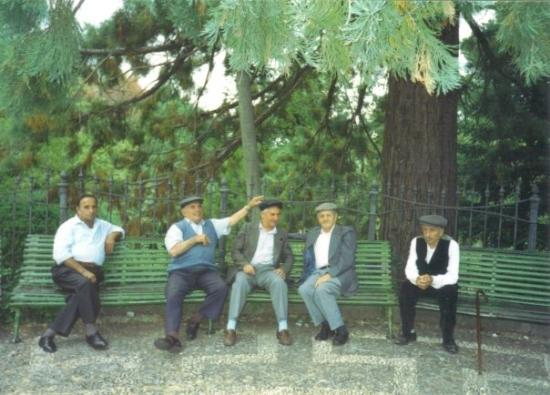 The retirees of Mistretta in northern Sicily; the birthplace of my great-grandfather (1992).