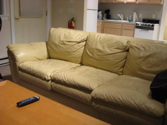 Large leather sofa - cushions are worn out - Picture of Santuit Inn ...