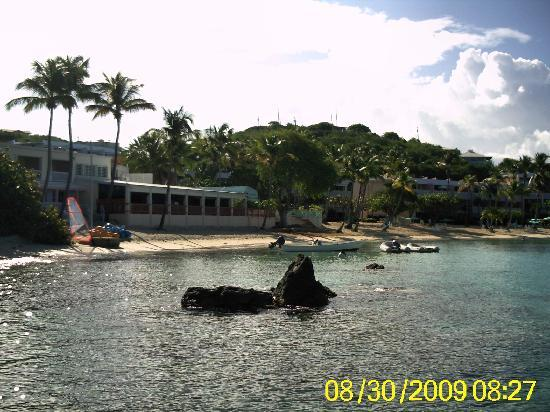 Secret Harbour Beach Resort: Looking back at the resort while snorkeling.