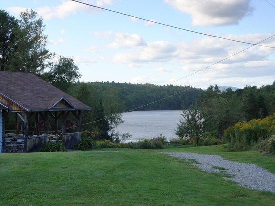 Craftsbury Outdoor Center: View of the lake and the dining hall porch