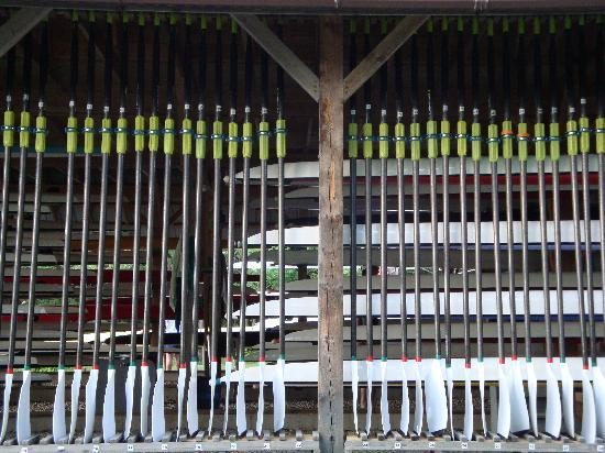 Craftsbury Outdoor Center : Boat shed and oar racks