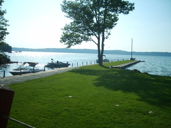 Dockside: view of Torch Lake from dining deck