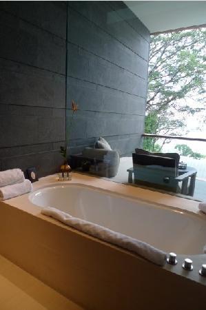 Capella Singapore: bathtub wth a view