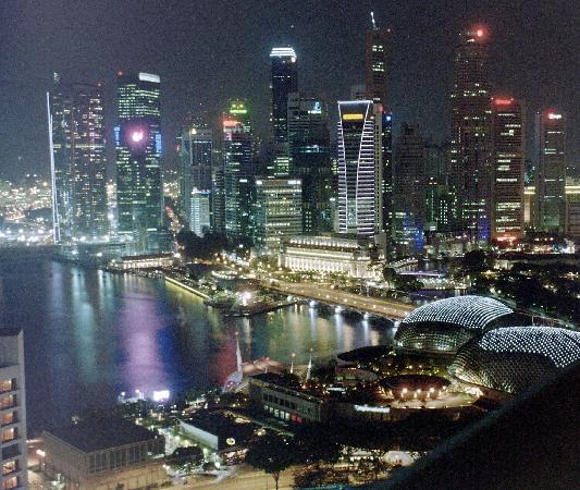 singapore at night from pan pacific harbour room picture. Black Bedroom Furniture Sets. Home Design Ideas