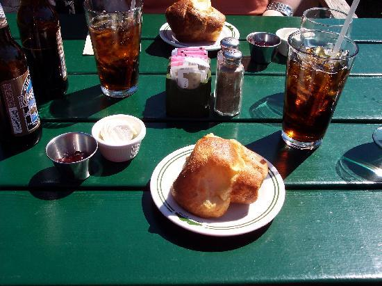 Jordan Pond House: Popover with jelly, jam, and Old Soaker root beer