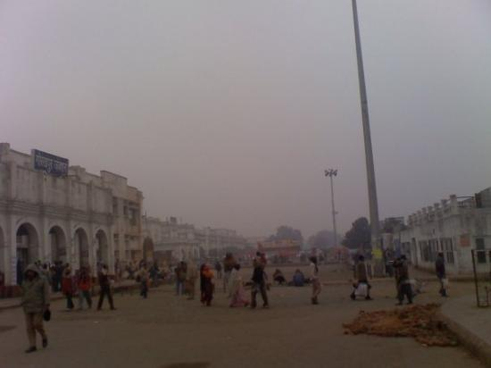 The train station on a foggy morning in Gorakhpur, UP