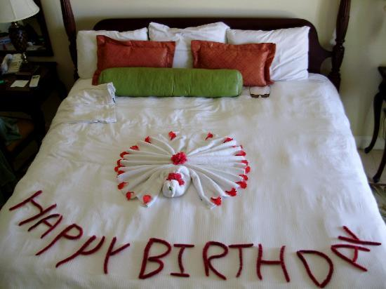 Happy birthday decoration picture of sandals montego bay for Bed decoration anniversary