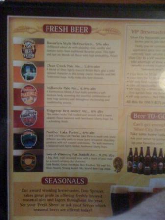 Silver City Brewery: The beer menu