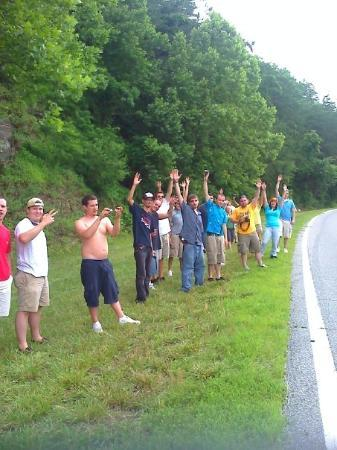 Robbinsville, NC: All of us taking pics on the side of the road.  Everyone was from New Jersey to Ft Lauderdale, f