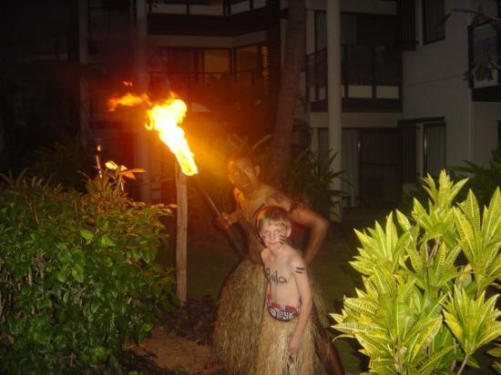 owen doing the torch lighting picture of denarau island viti levu