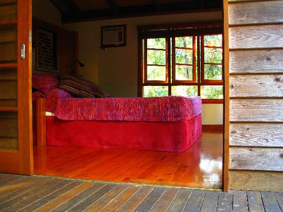 Rivers Edge Rainforest Retreat: Coolara - Master bedroom opens out to the deck