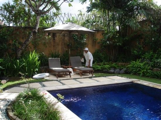 The Villas Bali Hotel & Spa: This was the pool boy... one of four visitors each day (the others were our chef, housekeeper, a