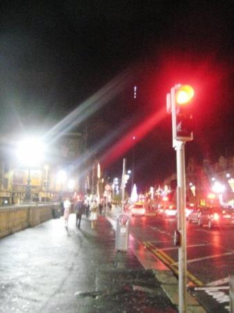 O'Connell Street: the lit up the top of the ridiculous Spire, Dublin