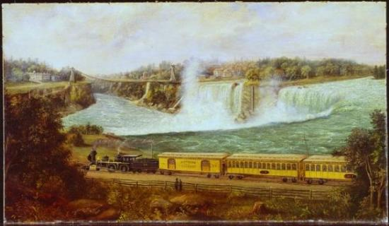 Port Hope, Canadá: Robert R. Whale  The Canada Southern Railway at Niagara   c. 1870  oil on canvas, 58.1 x 101.1