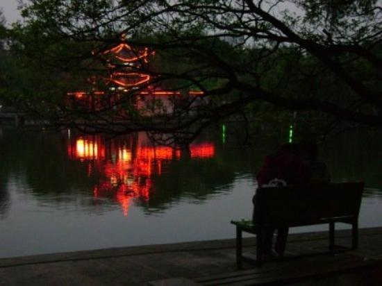 Green Lake (Cui Hu): Green Lake at night (from island side looking out).