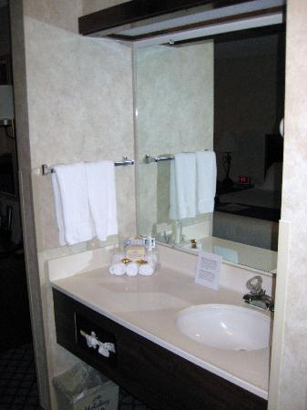 Miles City Hotel & Suites: The sink with toiletries was located outside of the bathroom