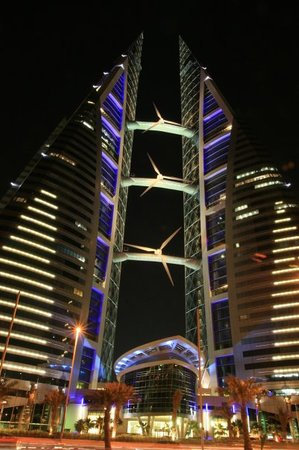 Manama, Bahrain: Bahrain World Trade Centre at Nite.. Nice..