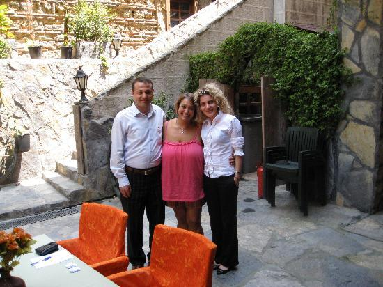 Stone Hotel: Selim, myself and Esra, (two of the helpful staff) in the patio cafe