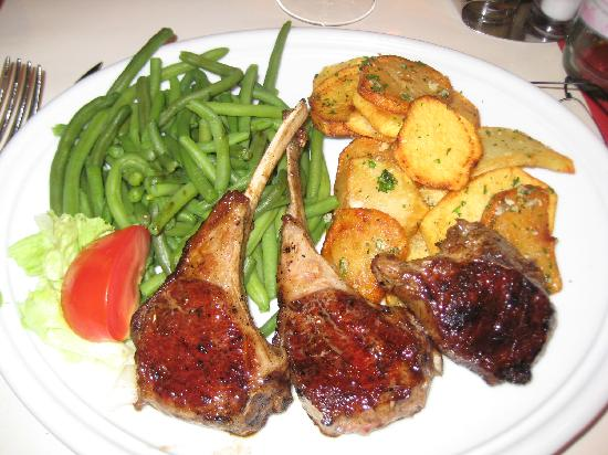 L'Ancien Trocadero: Lamb Chops, not burned, but completely well-done with no pink at all