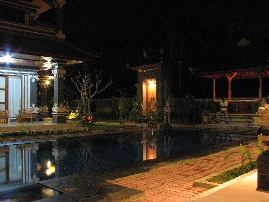 Villa Agung Khalia: The villa pool at night