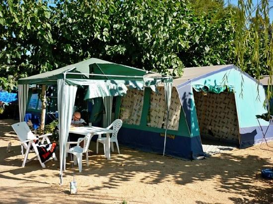 Vacansoleil tent with ripped gazebo