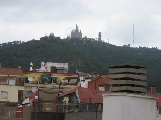 Aparthotel Bertran: View of Mt. Tibidabo from roof.