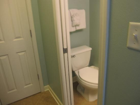 Gulf Place: half bath directly across from bunks with sliding pocket door