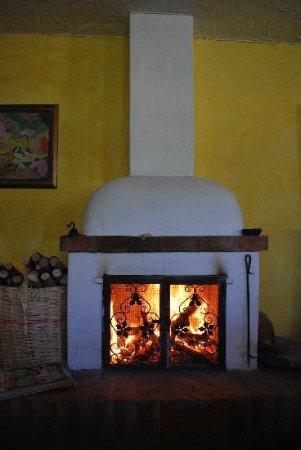 Hostal Las Palmeras : fireplace next to dining room
