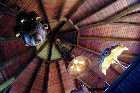 Land's End Inn: The Moroccan Tower. Looking up from the stairwell up to the room.