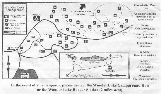 Wonder Lake Campground: map of campground.  approximate campsite locations