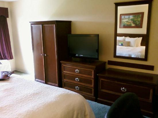 Hampton Inn Cincinnati - Kings Island: No closet, just a wardrobe in the room