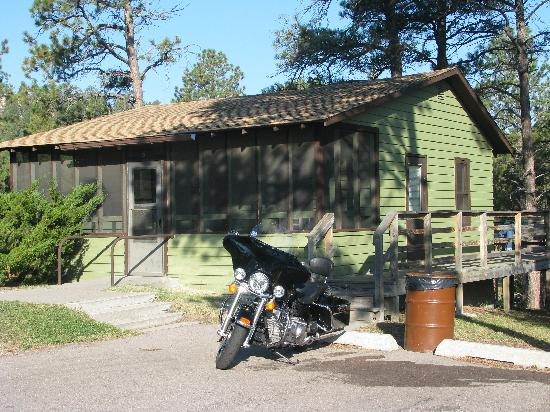 Chadron, NE: My bike posing in front of cabin#6