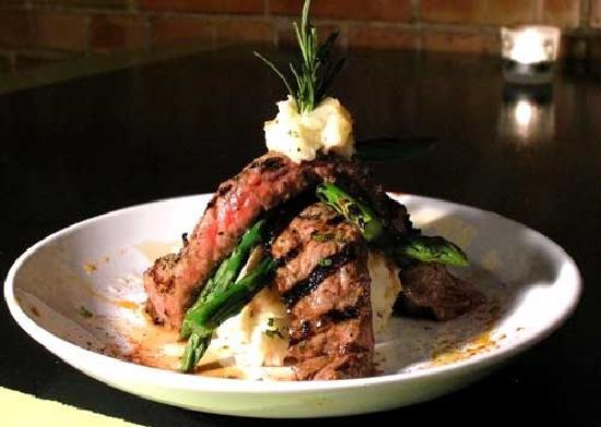 Meditrina: flanl steak and asparagus stack