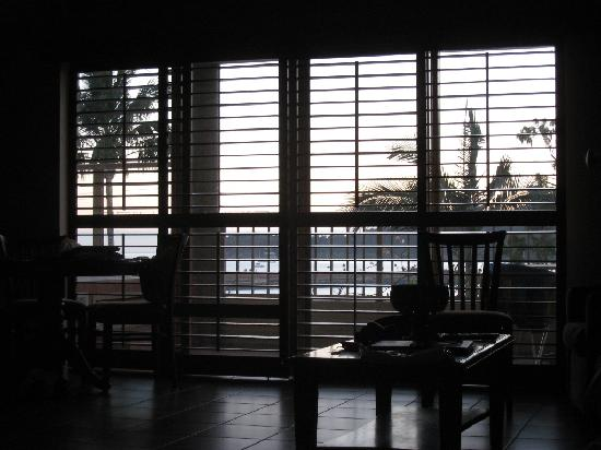 at Boathaven Spa Resort: morning view from the bedroom, looking through living room