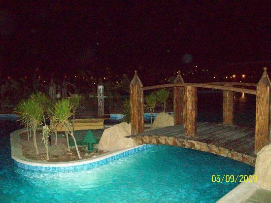 Jungle Aqua Park: One of the pools by night