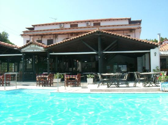 Koukounaries, Greece: Front view and pool