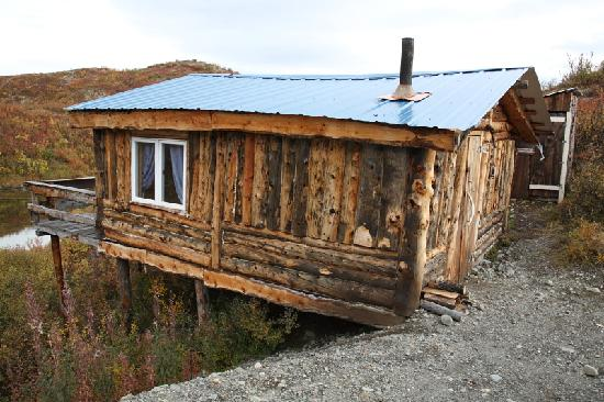 Denali Highway Tours: Rustic cabin with outhouse to the right.