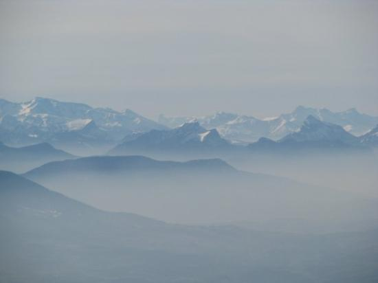Morzine, France: View of the Alps from the plane
