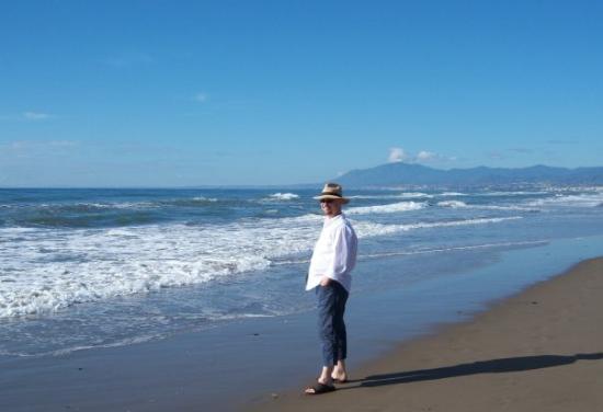 Playa de Calahonda: Sur la plage de Marbella, Gibraltar en arrière-plan
