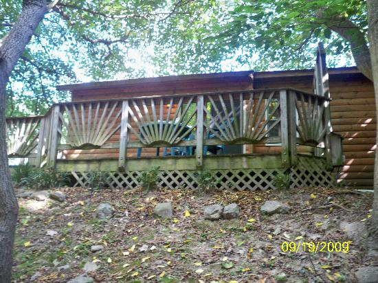 Brookside Cabins: View of back deck from the brook