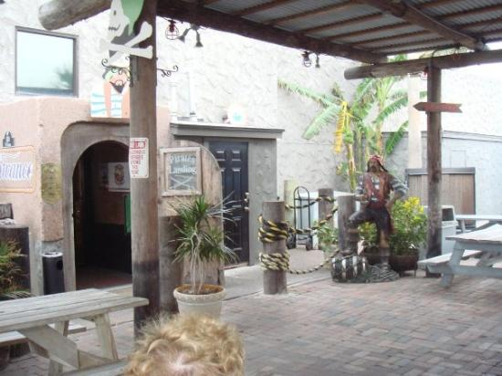 Port Isabel, TX: Entrance to  Pirates Cove Restaurant, PortIsabelle TX (outside of South Padre TX)