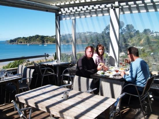 A restaurant with a view. Waiheke Island off the coast of New Zealand.