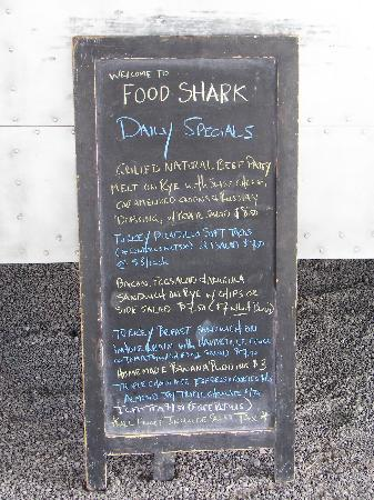 Marfa, TX: Food Shark menu board