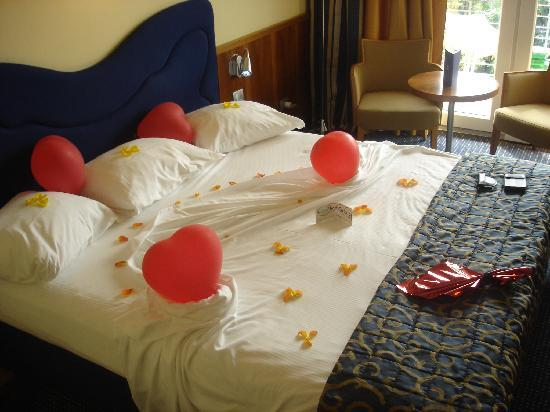 Color Hotel: Our bed on arrival, celebrating our wedding anniversry