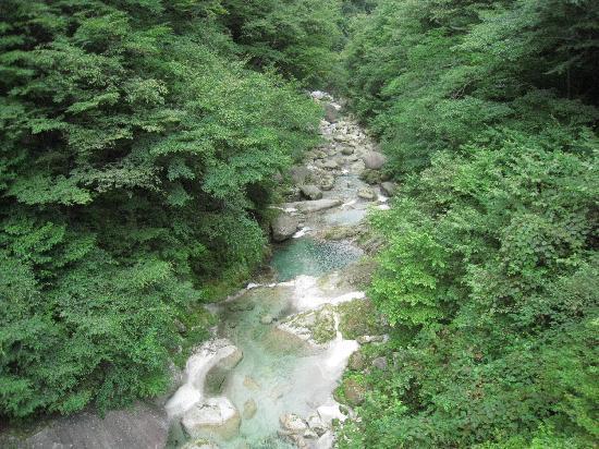 Ojiragawa Canyon: 不動滝手前のつり橋から
