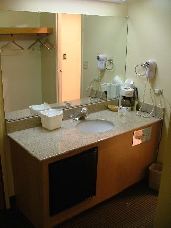 Motel 6 Libertyville: Mini Fridge & plenty of space in closet/bathroom area