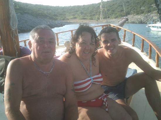 Hotel Bagevleri: Bill(my husband) me and Fraser (my son) on the boat
