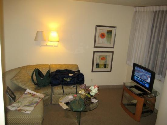 Georgetown Suites: Sofa area and tv