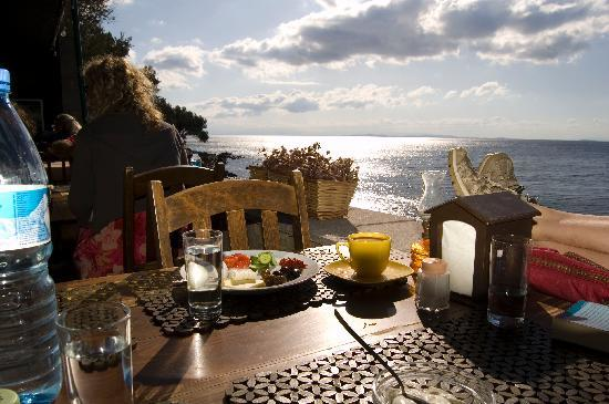 Assos, ตุรกี: Breakfast by the Aegean at the Bronz Motel