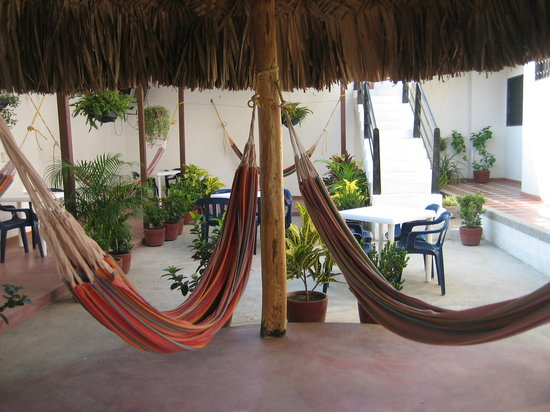 Hotel Ocean Taganga Internacional: The Patio With Hammocks And Free WIFI  And TV
